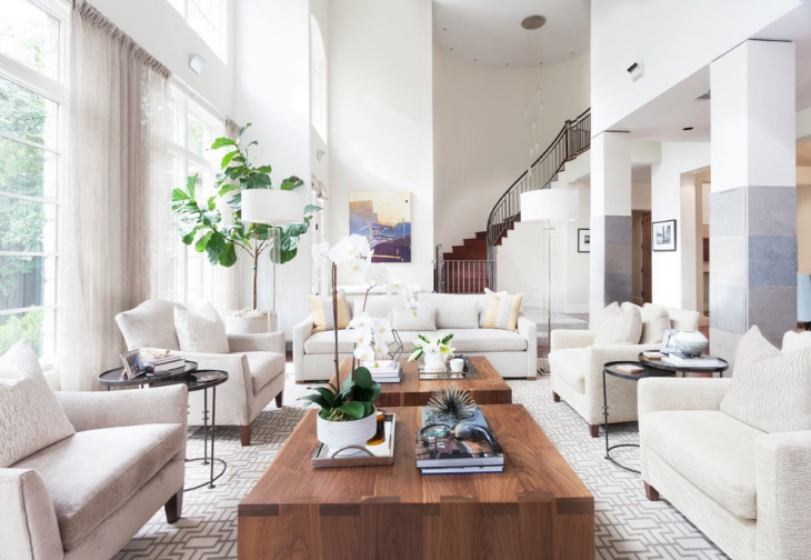 Neutral Colored Living Room In Large Space