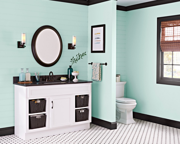 Sky blue Bathroom Vanity Makeover.