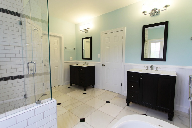 Master Bathroom With Dark Wood Vanity Cabinets