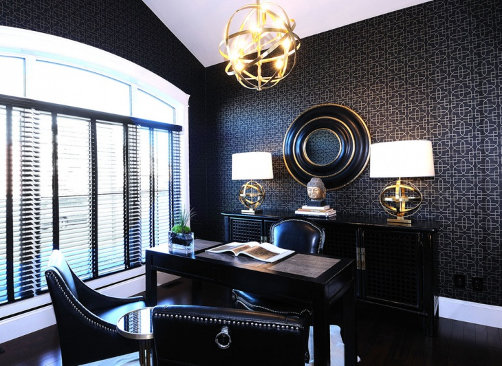 stylish black color home office