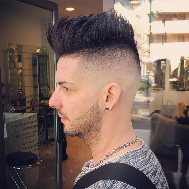 Comb Over With Bald Fade Haircut Design