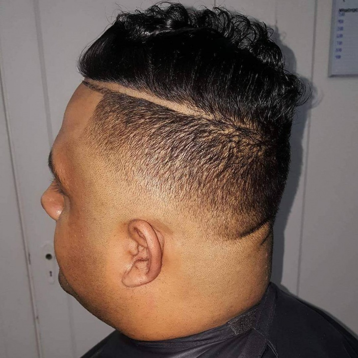 Back Line Comb Over Fade Haircut