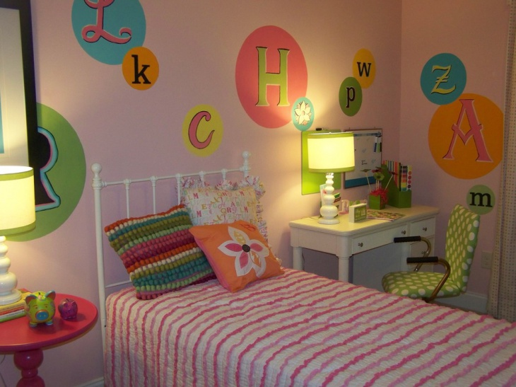 colorful nursery letters wall