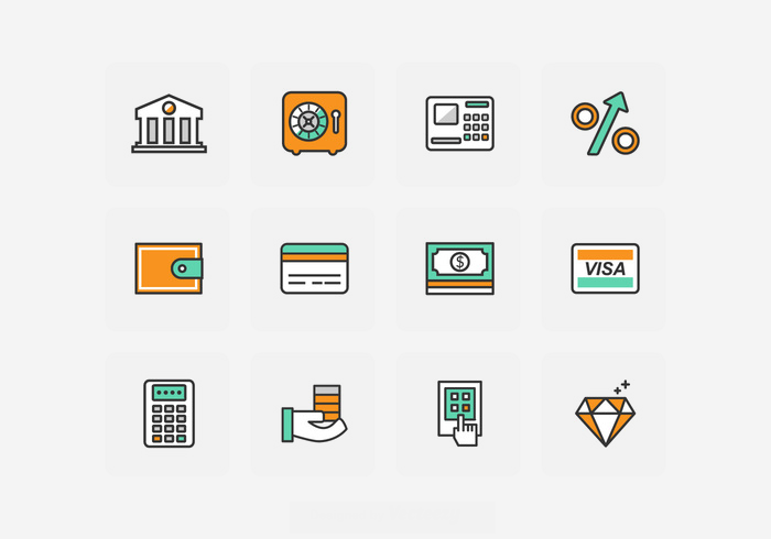 Flat Bank Icon Set