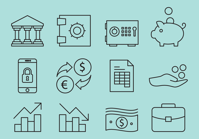 Lined Bank Icon Vectors