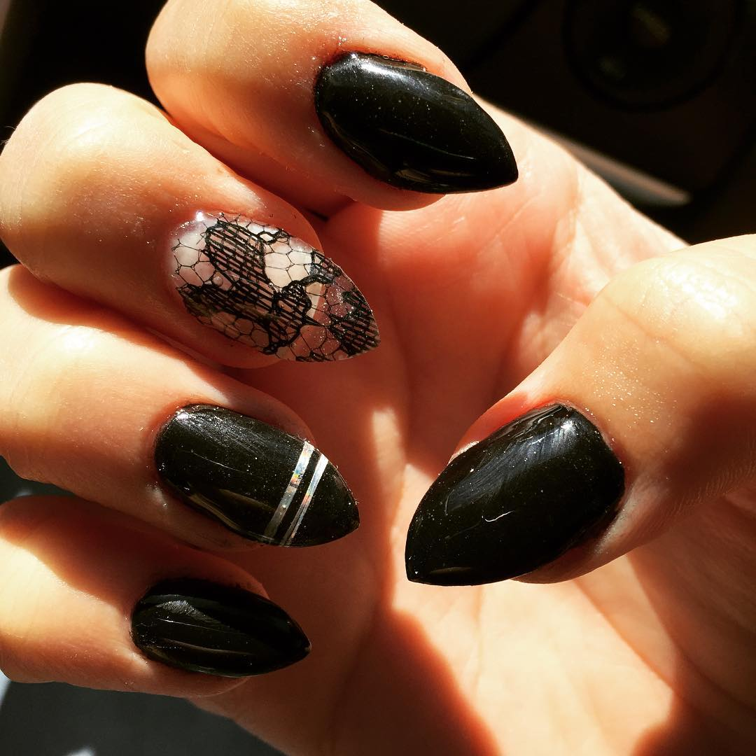 Attractive Black Stiletto Nail Art - 28+ Black Stiletto Nail Art Designs , Ideas Design Trends