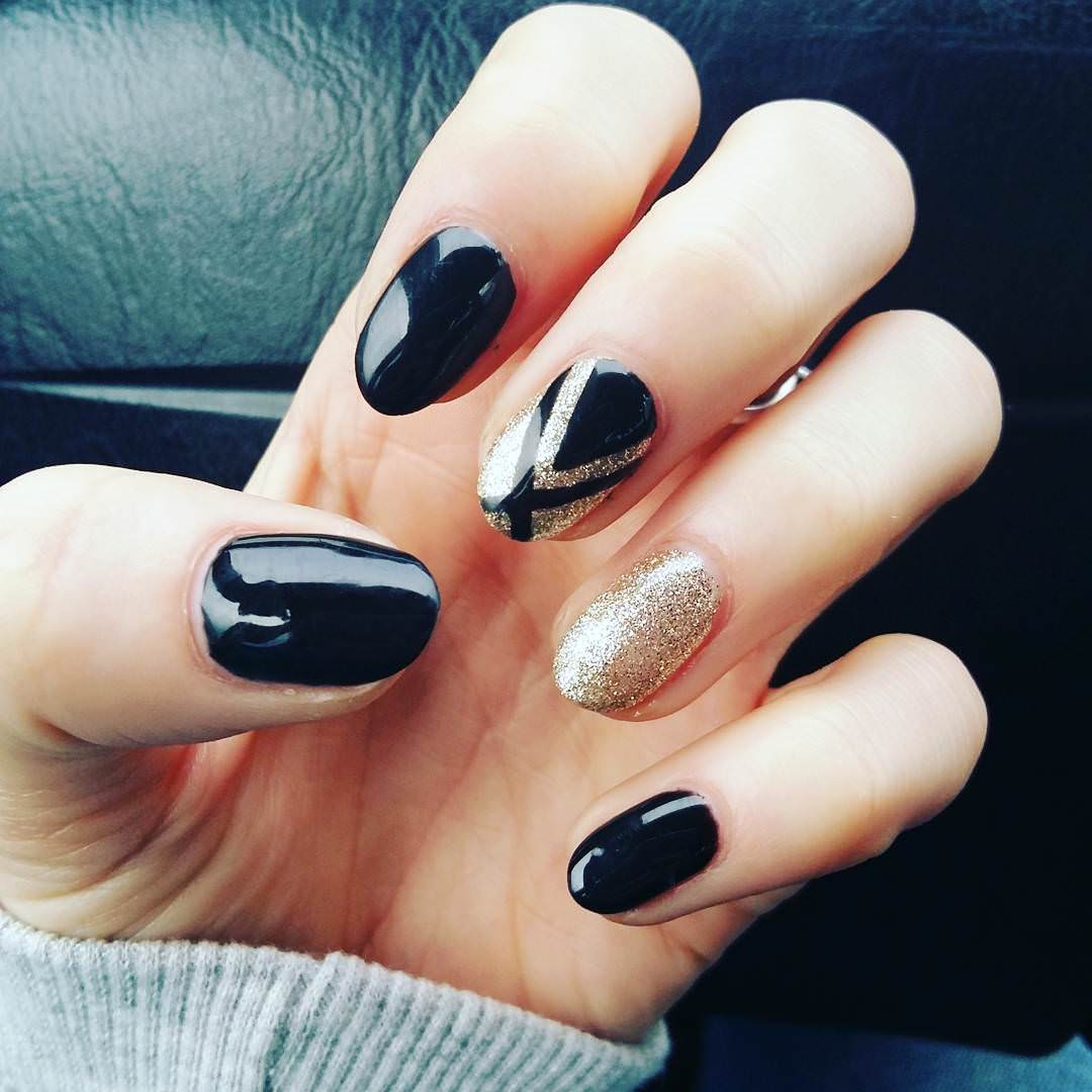 creative black nail design