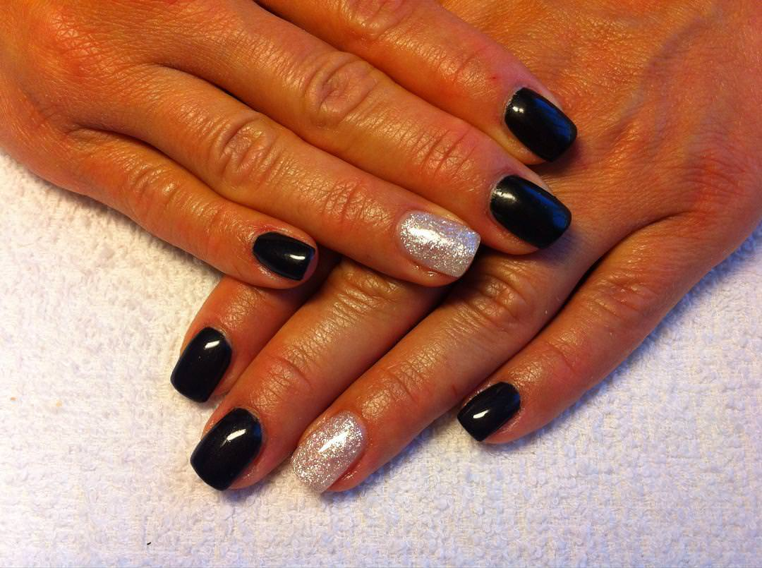 elegant black nail art