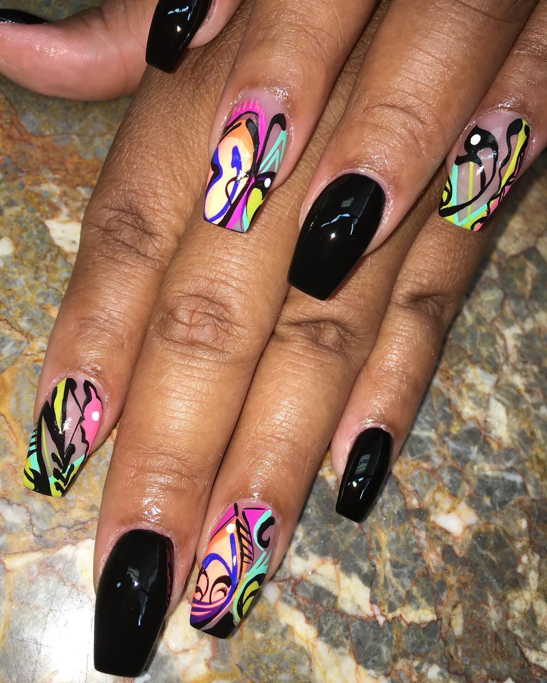 Nail Art Designs For Black Nails - NailArts Ideas