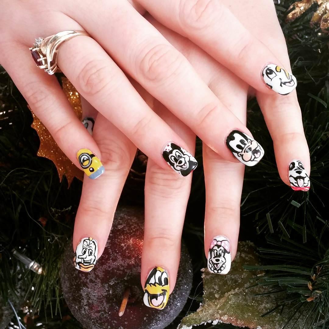 black and white disney nail art