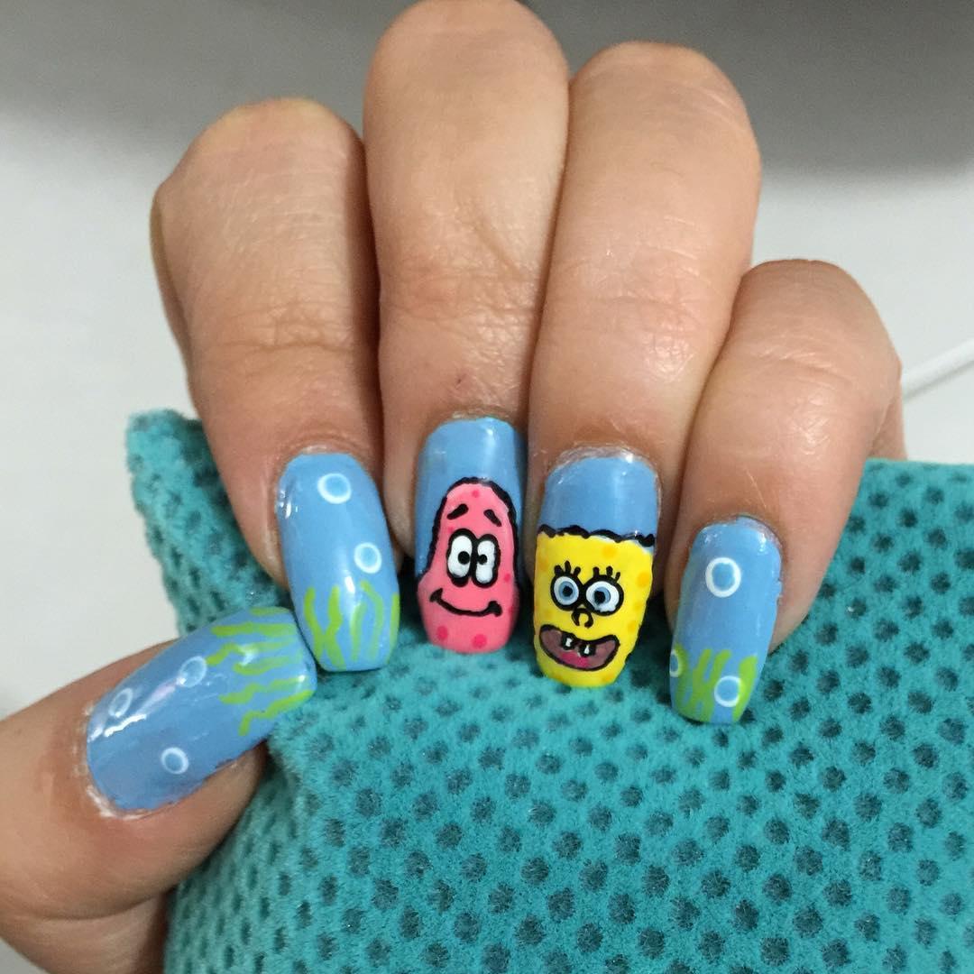 blue cartoon nail design