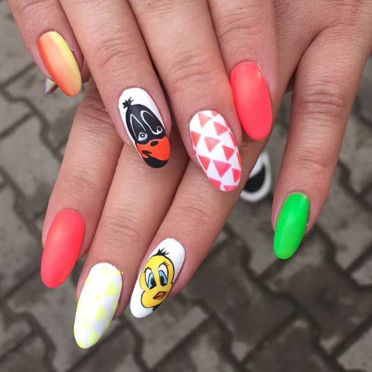 Lovable Cartoon Nail Design