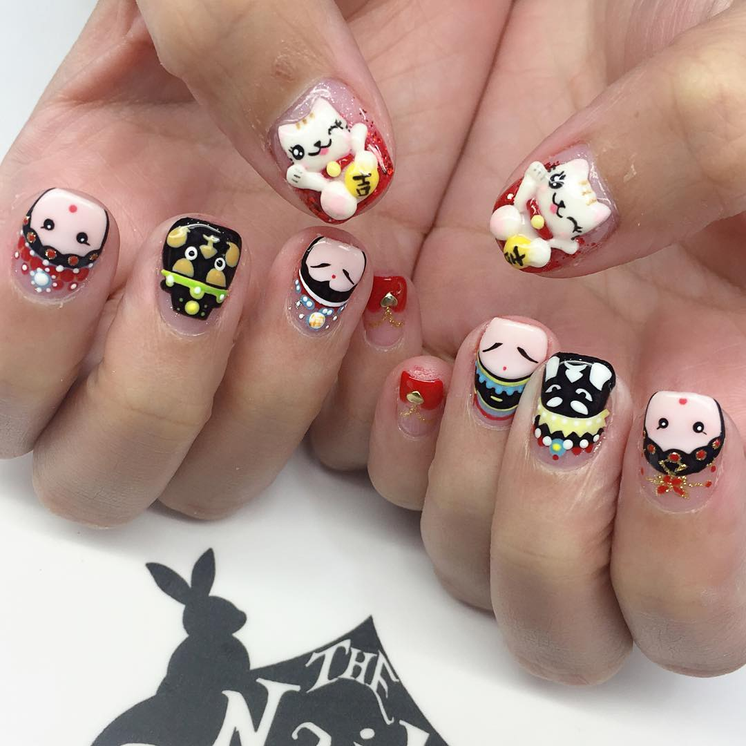 Multi Color Cartoon Nail Art