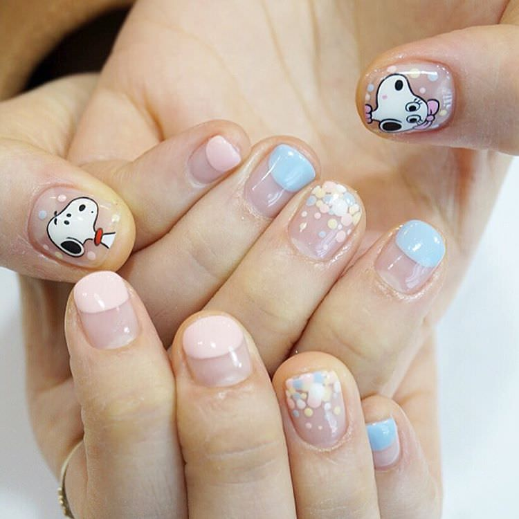 White Dog Nail Design