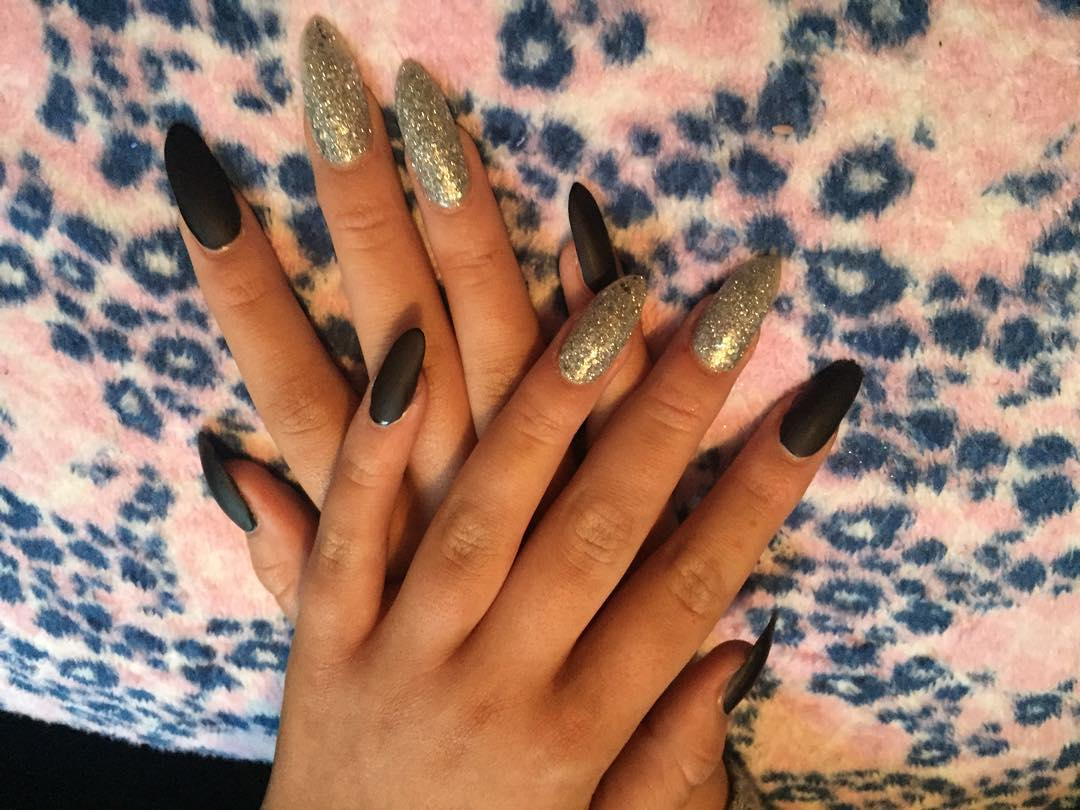 Black And Silver Glitter Nail Design