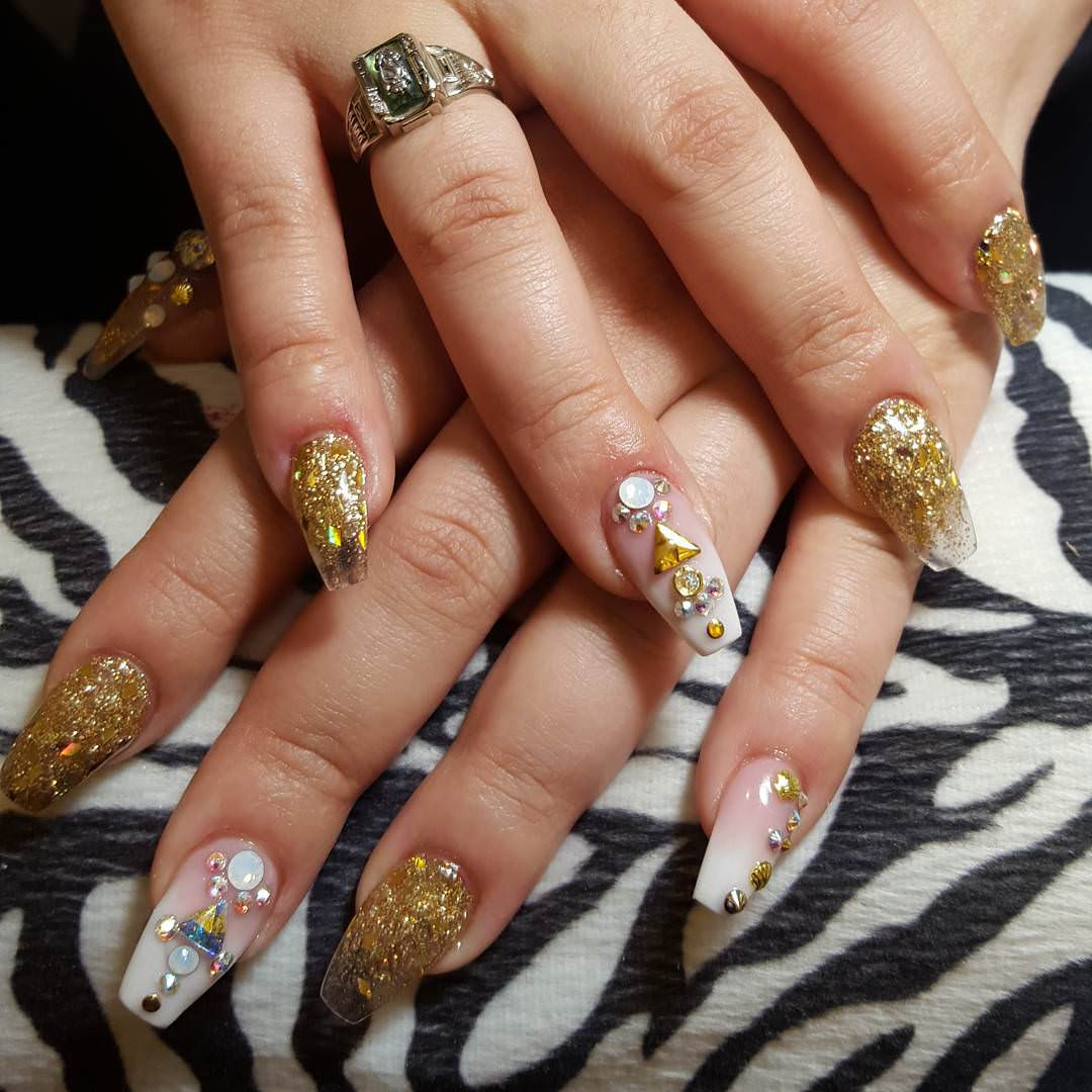 White And Golden Glitter Nail Design