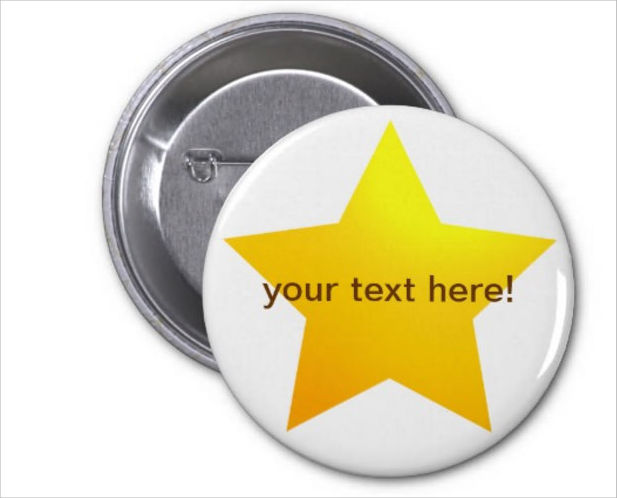 Gold Color Star Pin Badge Mockup
