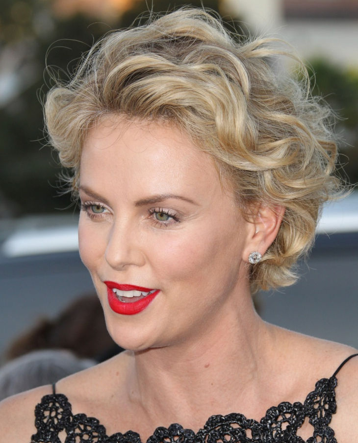 Charlize Theron Curly Long Pixie Hair