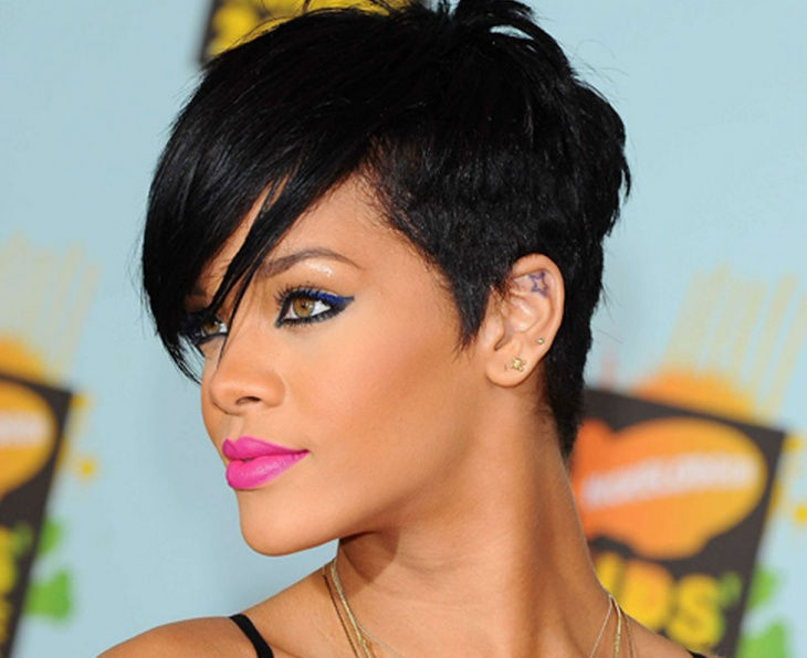 Rihanna Side Faded Long Pixie Hair