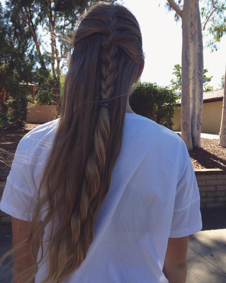 The Half up French Braid