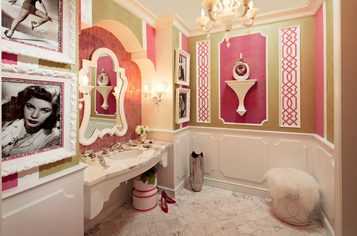 Vintage Style Pink and Green Bathroom Walls