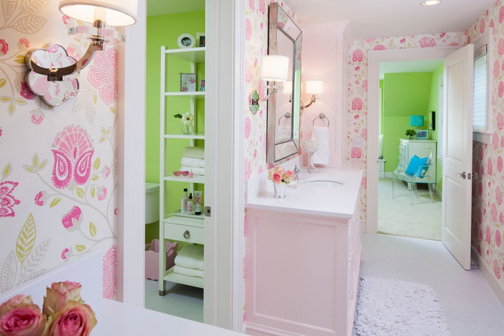 Transitional Pink Floral Walls Bathroom