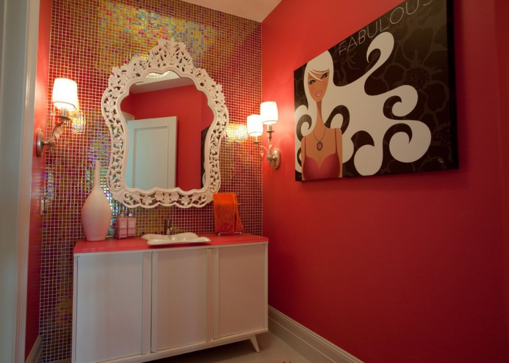 Modern Pink Colored Bathroom With Wall Art.