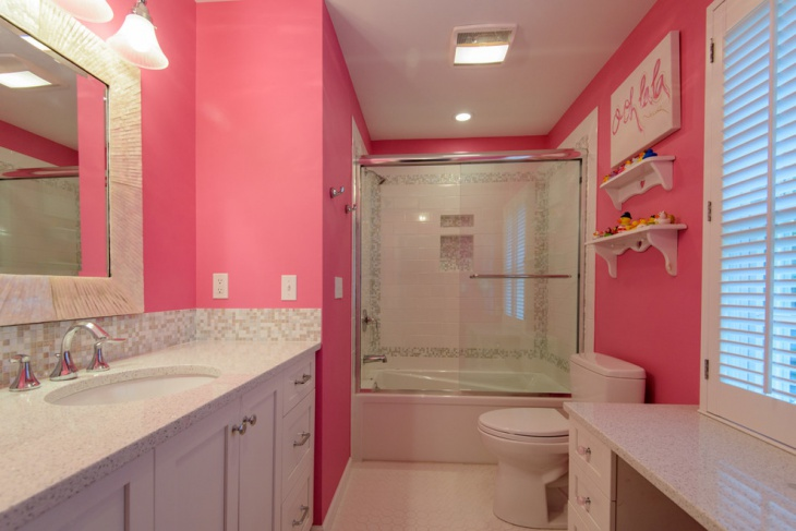 Charming Master Bathroom In Pink.