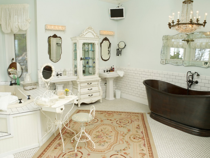 White Shabby Chic Style Bathroom