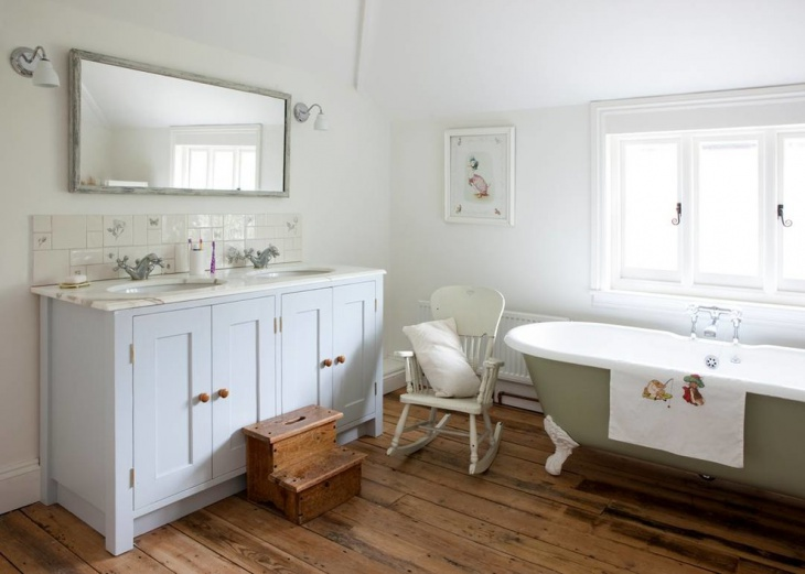 Shabby Chic Bathroom With Cabinets