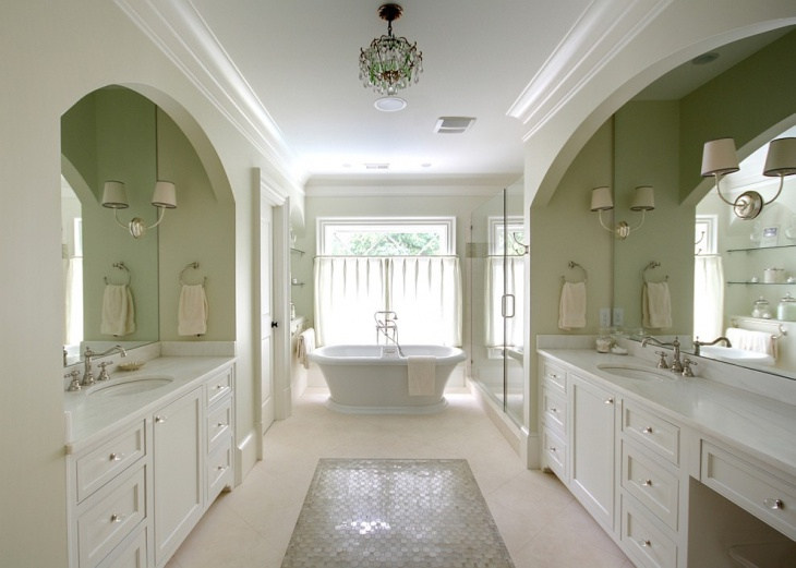 Light Green Bathroom In Large Space.