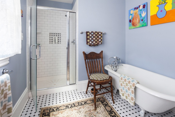 eclectic bathroom with white tiles
