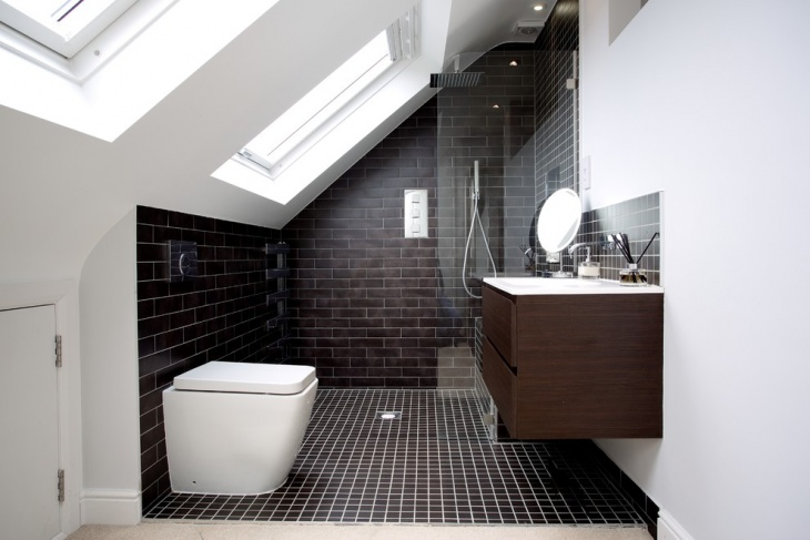 Black Tiles In Bathroom Ideas Part - 26: Small Bathroom With Black Tiles