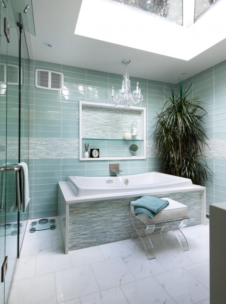 Contemporary Blue Bathroom Tiles Idea