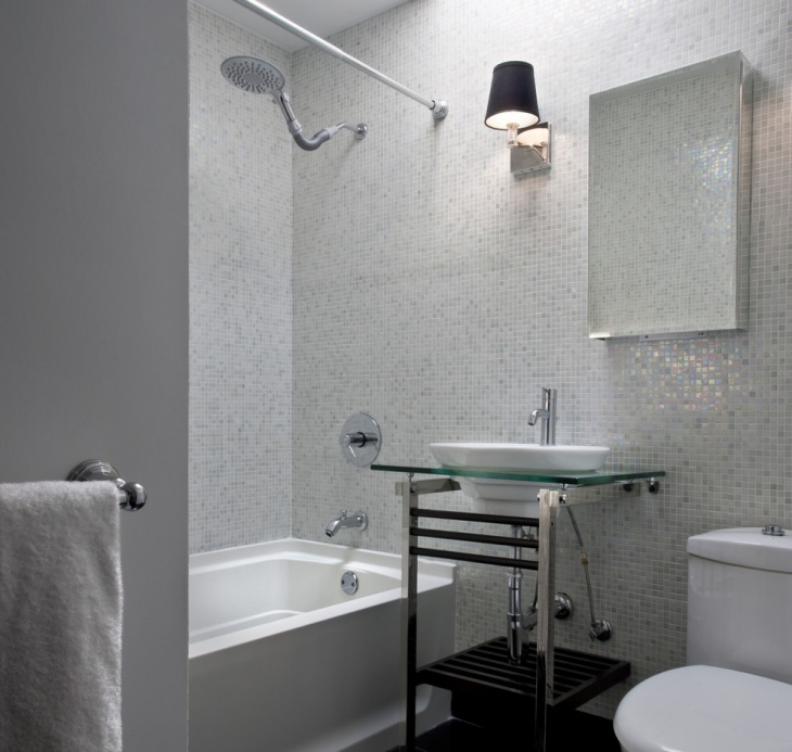 contemporary bathroom with square shaped tiles