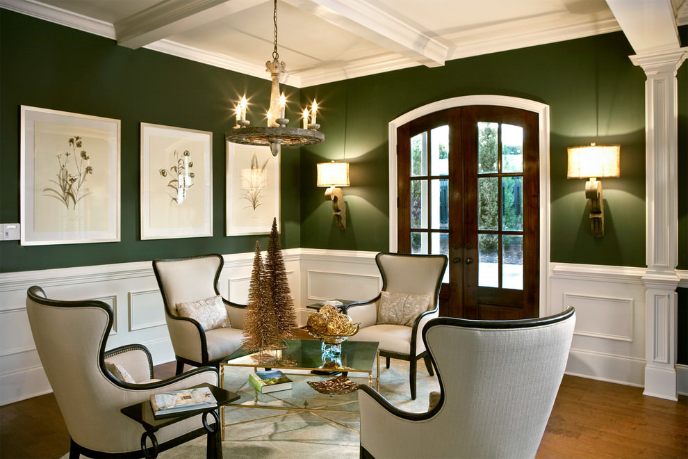 Great Awesome Green Living Room With White Chairs