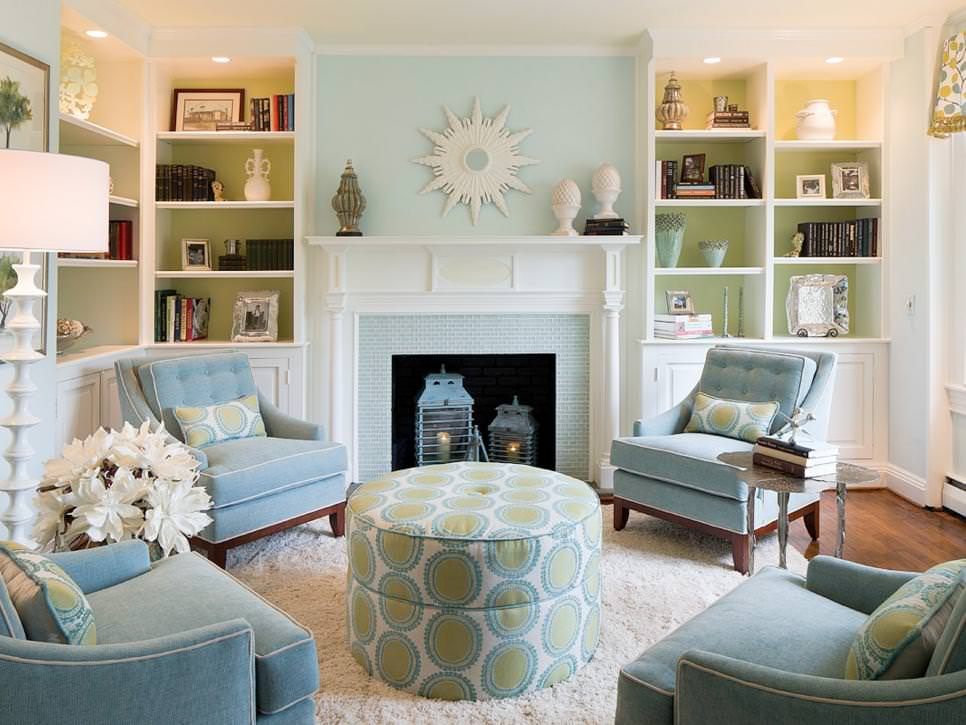 Blue And Green Transitional Living Room Part 98