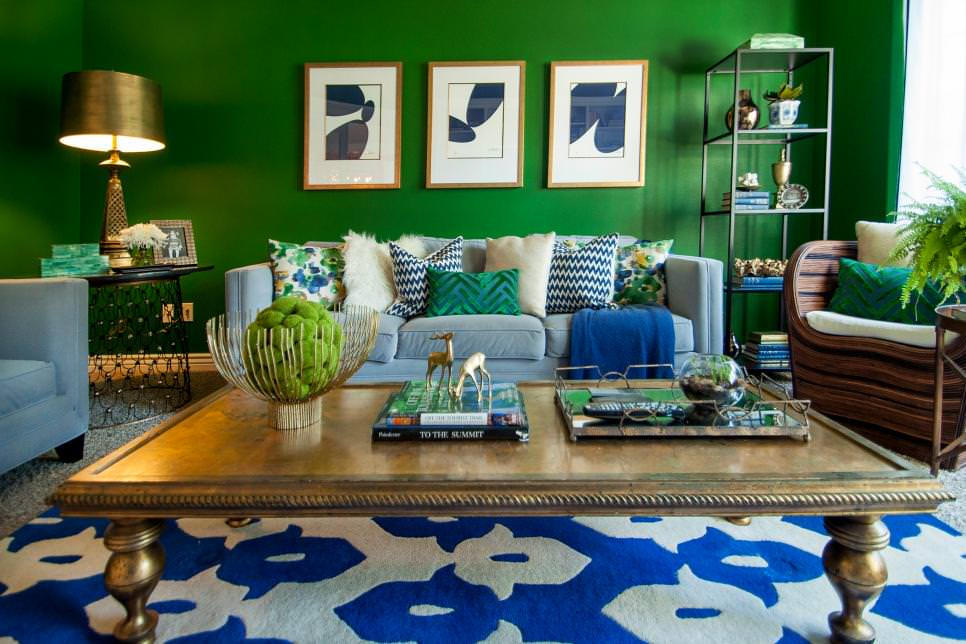 Bright Green Living Room With Royal Blue