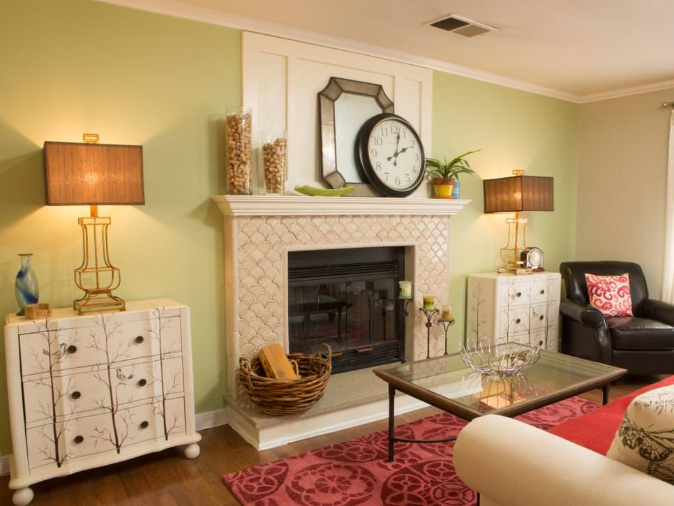 Eclectic Green Living Room With Fireplace
