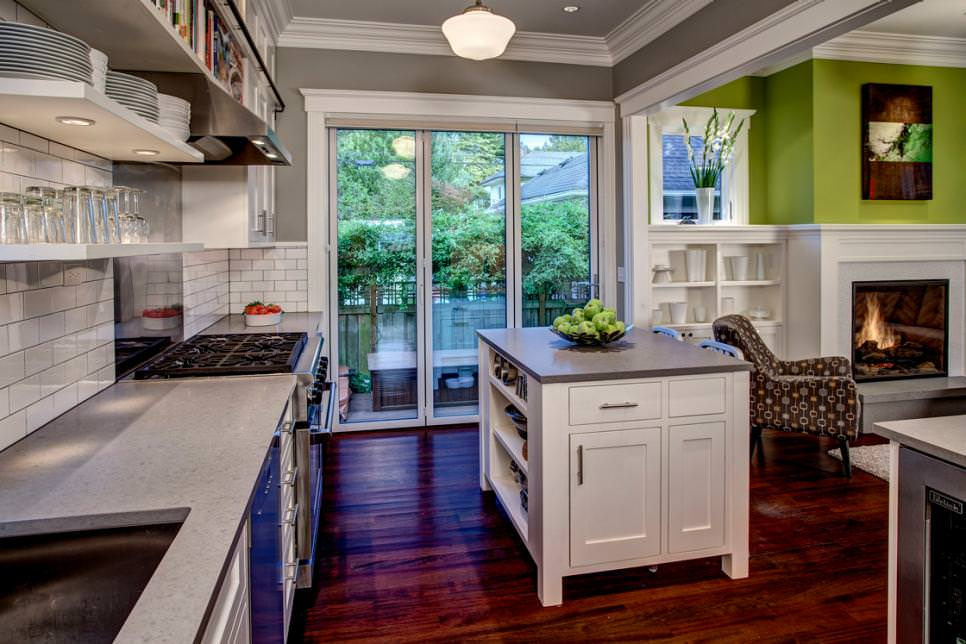 Gray Kitchen Flows Into Lime-Green Family Room
