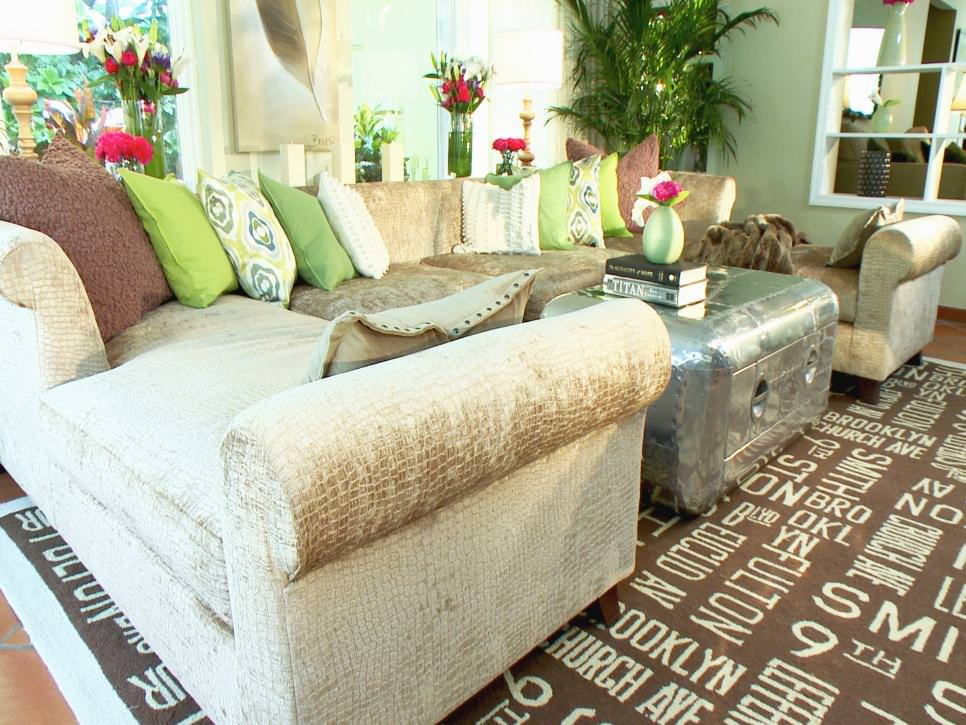 Green Living Room With Industrial Coffee Table
