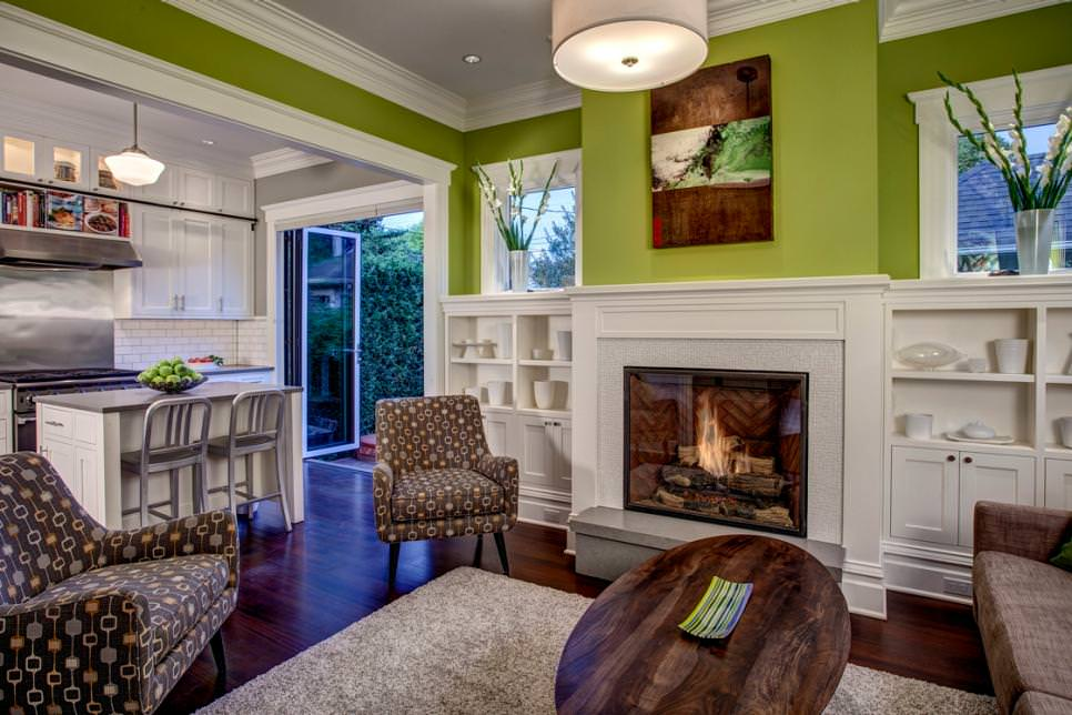 Lime-Green Family Room With Built-In Shelves