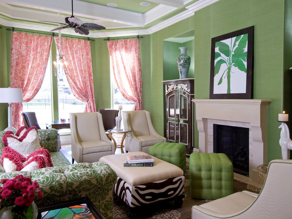 21 green living room designs decorating ideas design for Room design ideas pink