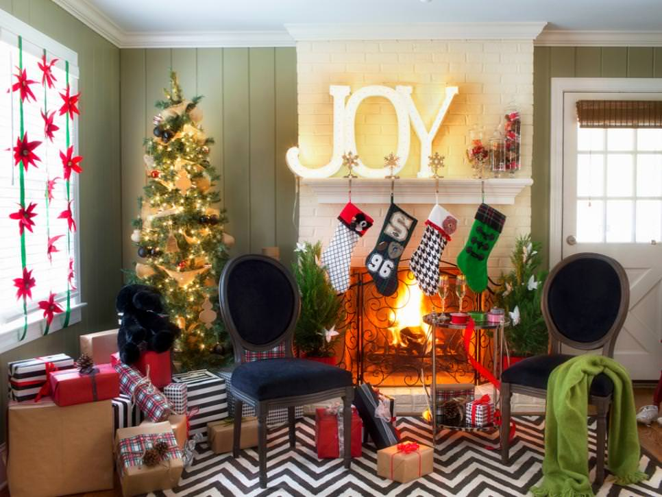 Stylish Holiday Decor Fills Green Living Room