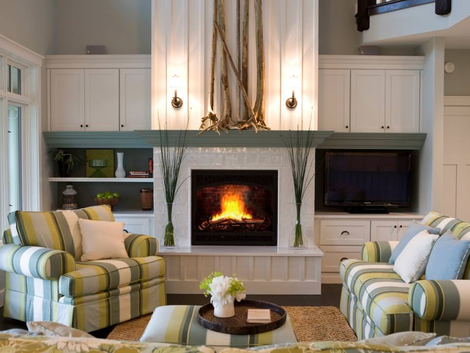 Transitional White and Green Living Room