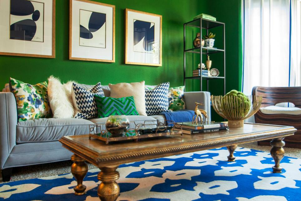 Vibrant Green Living Room With Bright Blue