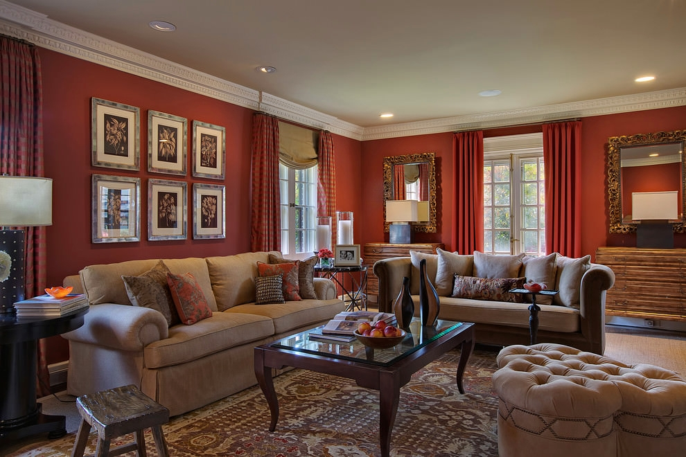 Charming red living room