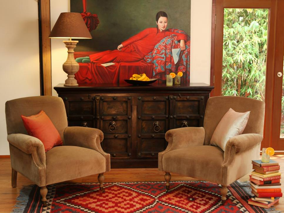 Eclectic Living Room with Pops of Red