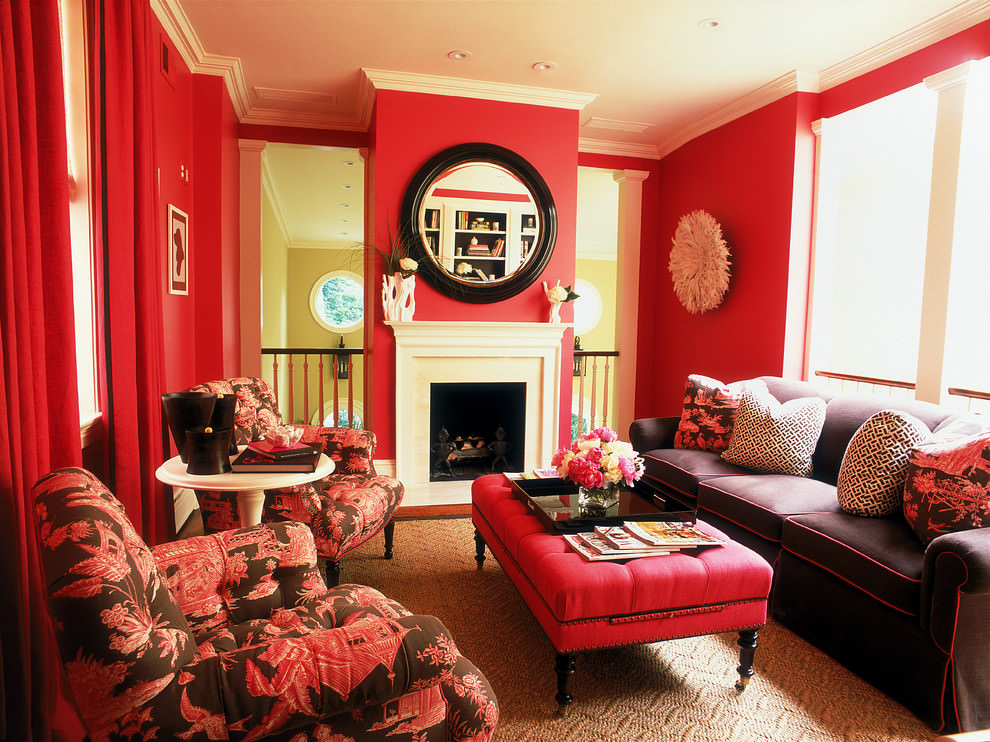 25 red living room designs decorating ideas design for Red wallpaper designs for living room