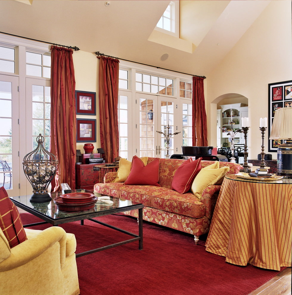 25 red living room designs decorating ideas design for Red and gold bedroom designs